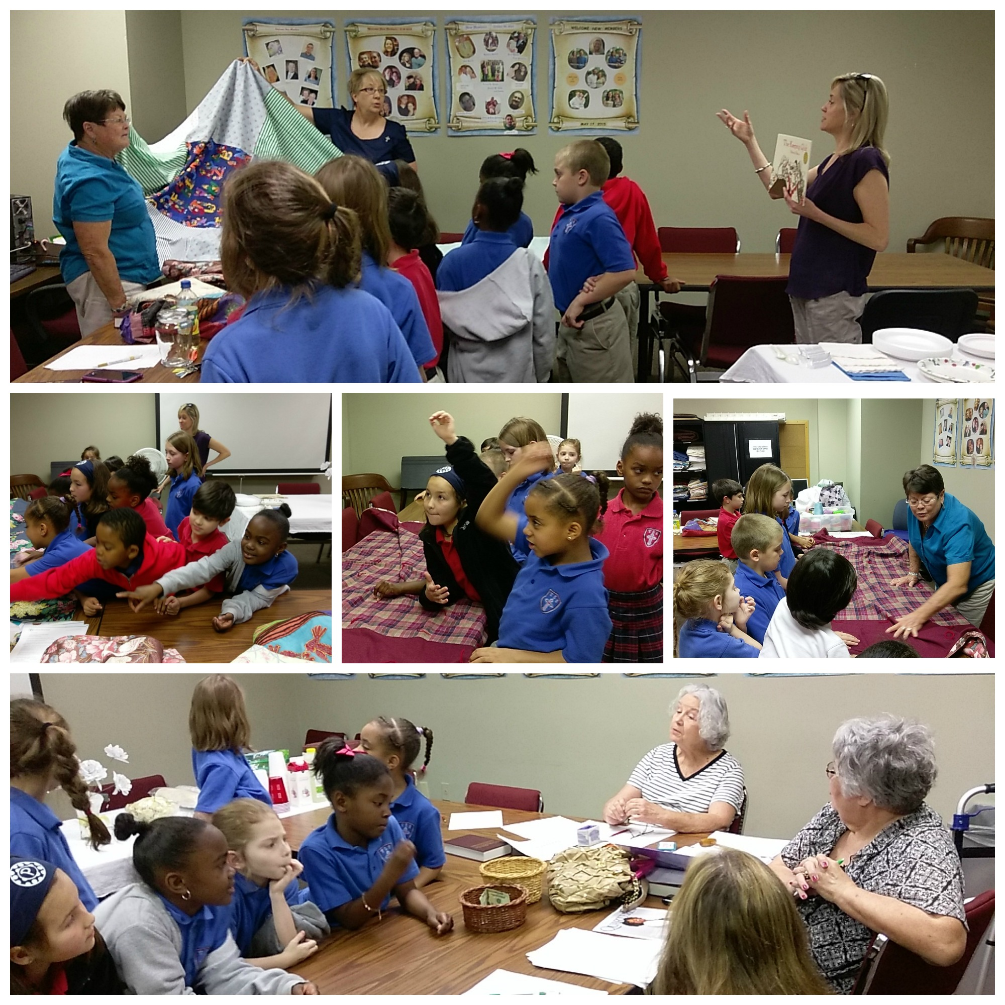 Quilters and kids collage